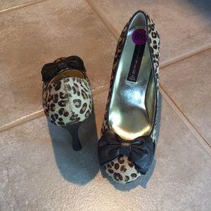 Calf hair, leopard heels NWT